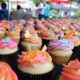 Hand pressed airbrushed cupcakes made the party all the sweeter.
